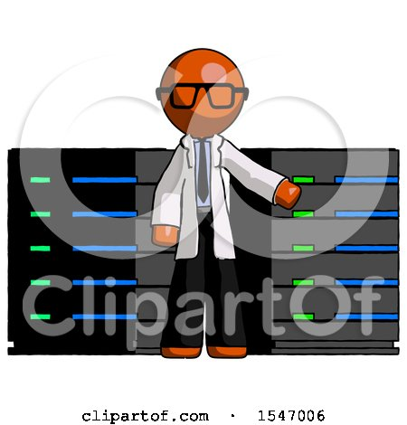 Orange Doctor Scientist Man with Server Racks, in Front of Two Networked Systems by Leo Blanchette