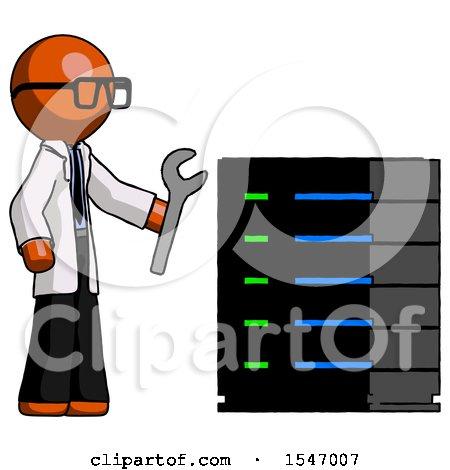 Orange Doctor Scientist Man Server Administrator Doing Repairs by Leo Blanchette