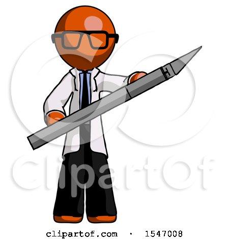 Orange Doctor Scientist Man Holding Large Scalpel by Leo Blanchette