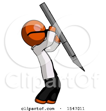 Orange Doctor Scientist Man Stabbing or Cutting with Scalpel by Leo Blanchette