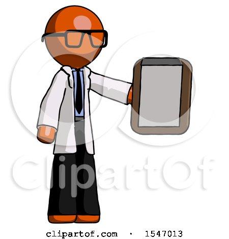 Orange Doctor Scientist Man Showing Clipboard to Viewer by Leo Blanchette