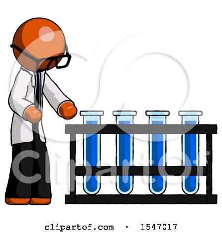 Orange Doctor Scientist Man Using Test Tubes or Vials on Rack by Leo Blanchette