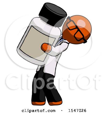 Orange Doctor Scientist Man Holding Large White Medicine Bottle by Leo Blanchette