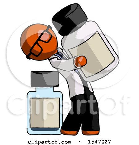 Orange Doctor Scientist Man Holding Large White Medicine Bottle with Bottle in Background by Leo Blanchette
