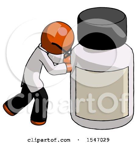Orange Doctor Scientist Man Pushing Large Medicine Bottle by Leo Blanchette
