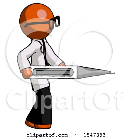 Orange Doctor Scientist Man Walking with Large Thermometer by Leo Blanchette