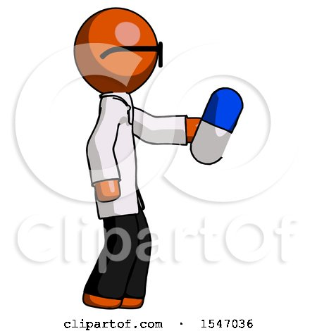 Orange Doctor Scientist Man Holding Blue Pill Walking to Right by Leo Blanchette