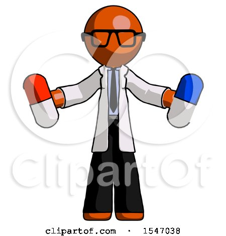 Orange Doctor Scientist Man Holding a Red Pill and Blue Pill by Leo Blanchette