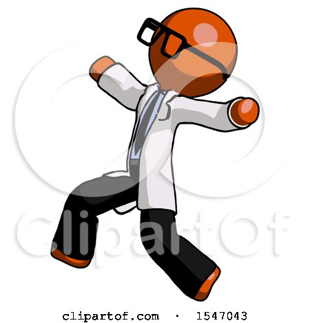 Orange Doctor Scientist Man Running Away in Hysterical Panic Direction Left by Leo Blanchette