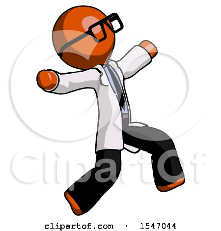 Orange Doctor Scientist Man Running Away in Hysterical Panic Direction Right by Leo Blanchette