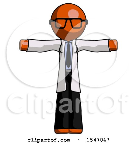 Orange Doctor Scientist Man T-Pose Arms up Standing by Leo Blanchette