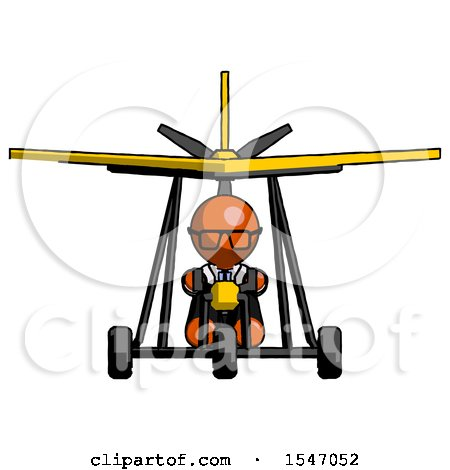 Orange Doctor Scientist Man in Ultralight Aircraft Front View by Leo Blanchette