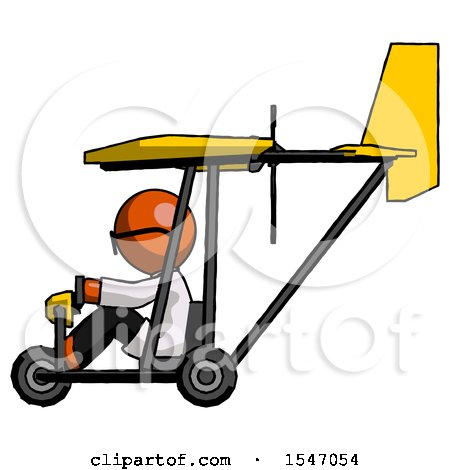 Orange Doctor Scientist Man in Ultralight Aircraft Side View by Leo Blanchette