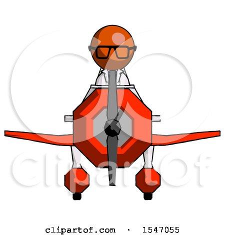 Orange Doctor Scientist Man in Geebee Stunt Plane Front View by Leo Blanchette