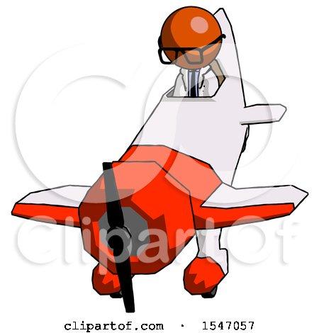 Orange Doctor Scientist Man in Geebee Stunt Plane Descending Front Angle View by Leo Blanchette