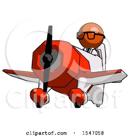 Orange Doctor Scientist Man Flying in Geebee Stunt Plane Viewed from Below by Leo Blanchette