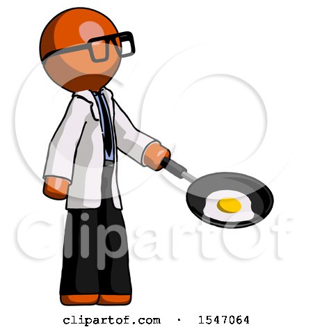 Orange Doctor Scientist Man Frying Egg in Pan or Wok Facing Right by Leo Blanchette