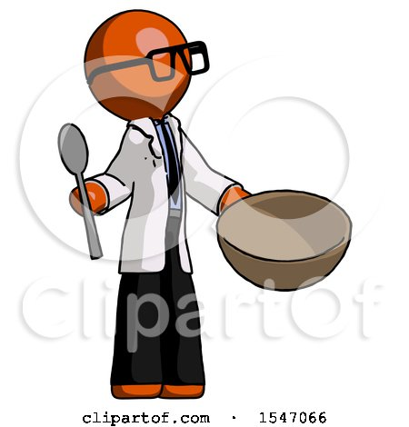 Orange Doctor Scientist Man with Empty Bowl and Spoon Ready to Make Something by Leo Blanchette