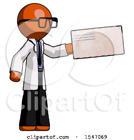 Orange Doctor Scientist Man Holding Large Envelope by Leo Blanchette