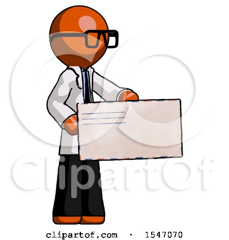 Orange Doctor Scientist Man Presenting Large Envelope by Leo Blanchette
