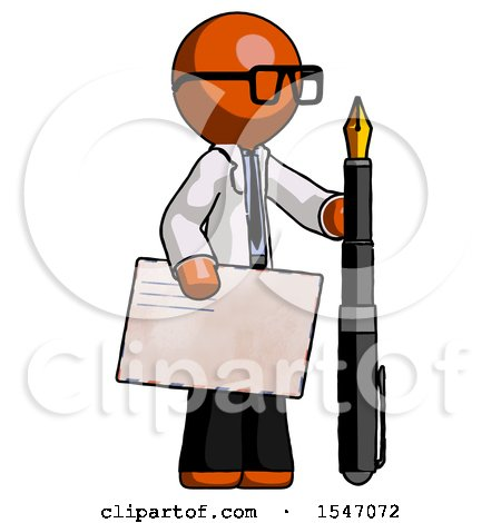 Orange Doctor Scientist Man Holding Large Envelope and Calligraphy Pen by Leo Blanchette