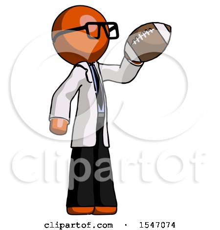 Orange Doctor Scientist Man Holding Football up by Leo Blanchette