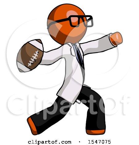 Orange Doctor Scientist Man Throwing Football by Leo Blanchette