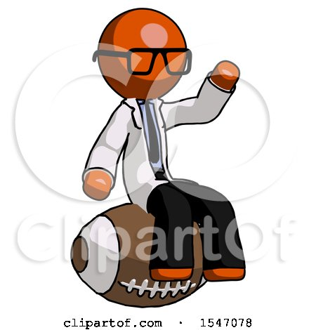 Orange Doctor Scientist Man Sitting on Giant Football by Leo Blanchette