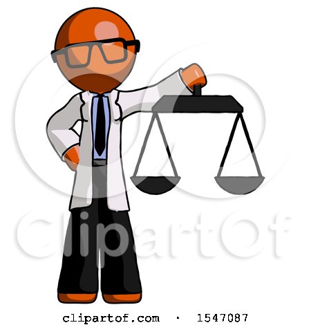 Orange Doctor Scientist Man Holding Scales of Justice by Leo Blanchette