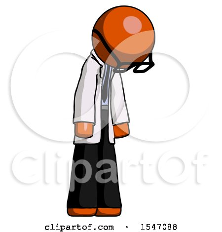 Orange Doctor Scientist Man Depressed with Head down Turned Right by Leo Blanchette