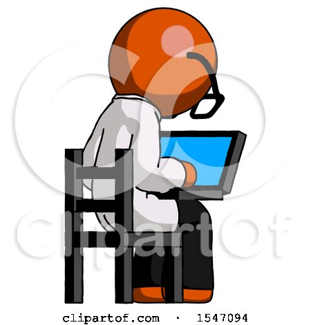 Orange Doctor Scientist Man Using Laptop Computer While Sitting in Chair View from Back by Leo Blanchette
