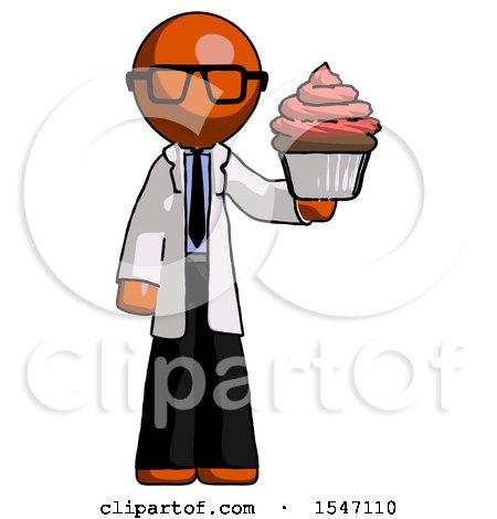 Orange Doctor Scientist Man Presenting Pink Cupcake to Viewer by Leo Blanchette