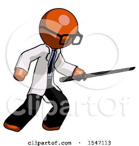 Orange Doctor Scientist Man Stabbing with Ninja Sword Katana by Leo Blanchette