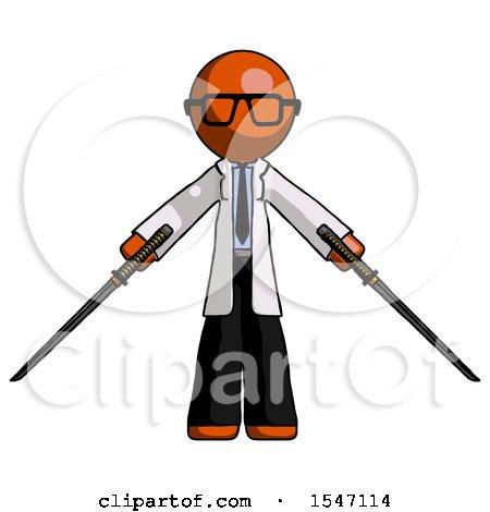 Orange Doctor Scientist Man Posing with Two Ninja Sword Katanas by Leo Blanchette