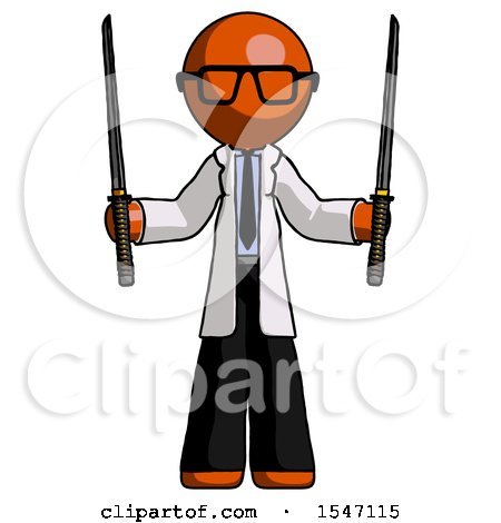Orange Doctor Scientist Man Posing with Two Ninja Sword Katanas up by Leo Blanchette