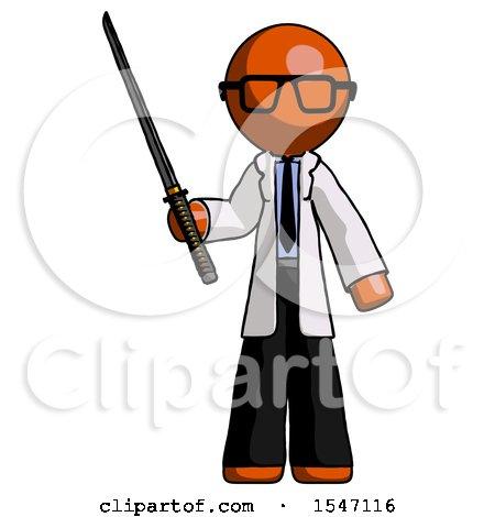Orange Doctor Scientist Man Standing up with Ninja Sword Katana by Leo Blanchette