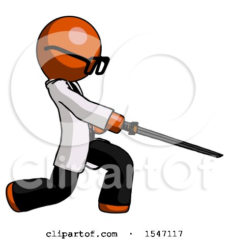 Orange Doctor Scientist Man with Ninja Sword Katana Slicing or Striking Something by Leo Blanchette