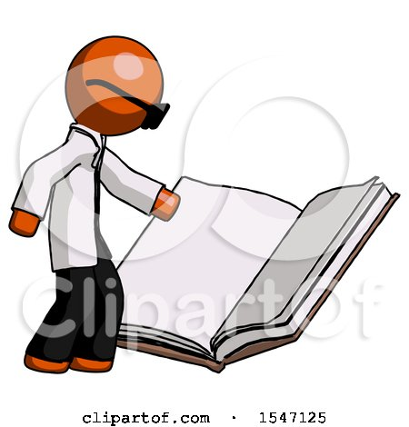 Orange Doctor Scientist Man Reading Big Book While Standing Beside It by Leo Blanchette