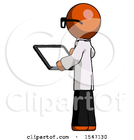 Orange Doctor Scientist Man Looking at Tablet Device Computer with Back to Viewer by Leo Blanchette