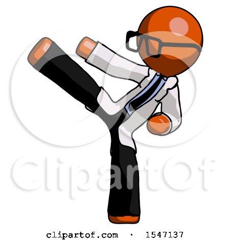 Orange Doctor Scientist Man Ninja Kick Left by Leo Blanchette