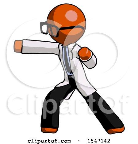 Orange Doctor Scientist Man Martial Arts Punch Left by Leo Blanchette