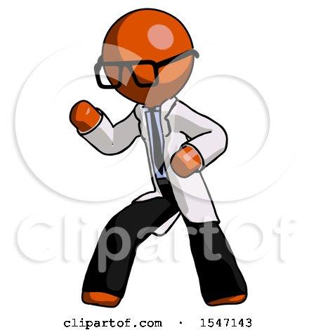 Orange Doctor Scientist Man Martial Arts Defense Pose Left by Leo Blanchette