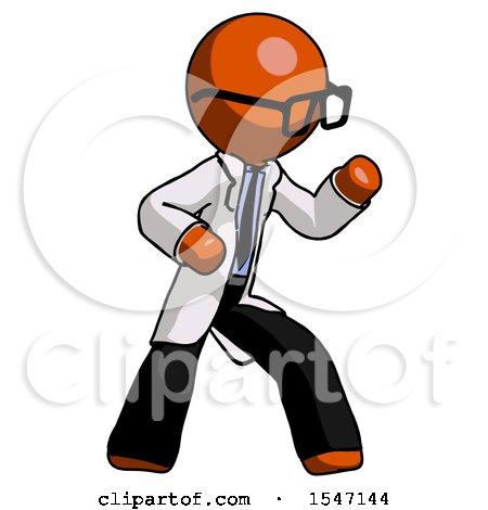 Orange Doctor Scientist Man Martial Arts Defense Pose Right by Leo Blanchette
