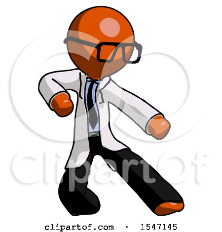 Orange Doctor Scientist Man Karate Defense Pose Right by Leo Blanchette