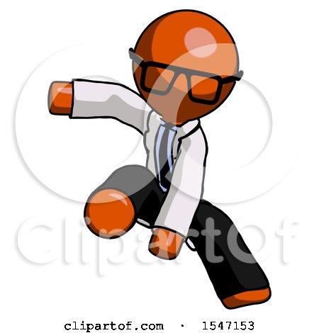 Orange Doctor Scientist Man Action Hero Jump Pose by Leo Blanchette