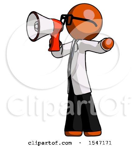 Orange Doctor Scientist Man Shouting into Megaphone Bullhorn Facing Left by Leo Blanchette