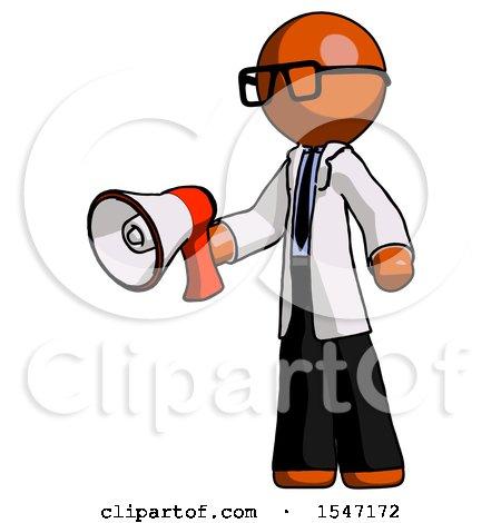 Orange Doctor Scientist Man Holding Megaphone Bullhorn Facing Right by Leo Blanchette