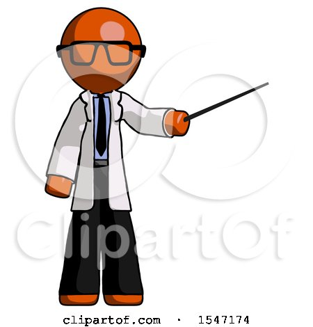 Orange Doctor Scientist Man Teacher or Conductor with Stick or Baton Directing by Leo Blanchette