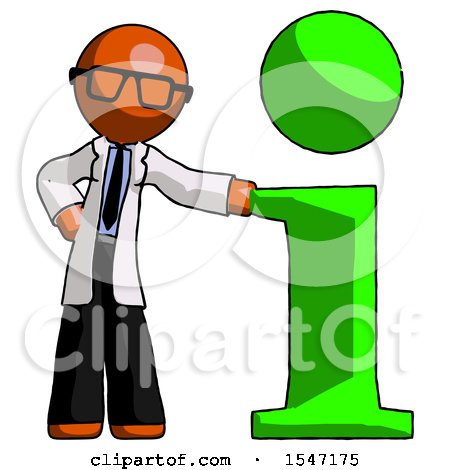 Orange Doctor Scientist Man with Info Symbol Leaning up Against It by Leo Blanchette
