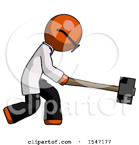 Orange Doctor Scientist Man Hitting with Sledgehammer, or Smashing Something by Leo Blanchette